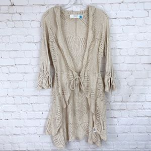 Sparrow Ruched Tie Cardigan Sweater